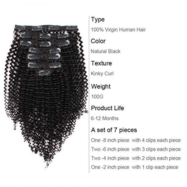 ABH AmazingBeauty Hair 8A Remy Brazilian Clip in Hair Extensions ...