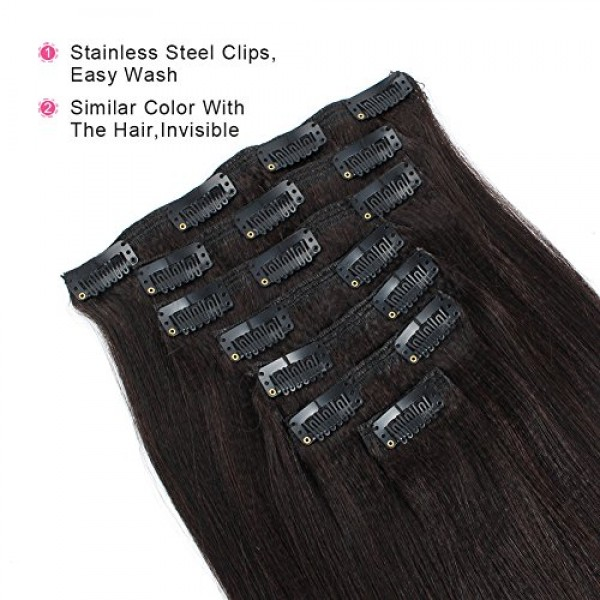 ABH AmazingBeauty Hair Real Remy Thick Yaki Hair Clip In Hair Ext...