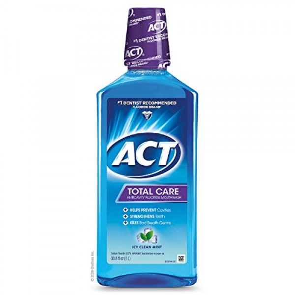ACT Total Care Anticavity Fluoride Mouthwash, Kills Bad Breath Ge...