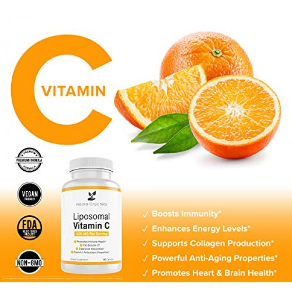 Adora Organics Liposomal Vitamin C 1400mg - 180 Capsules - Suppor...