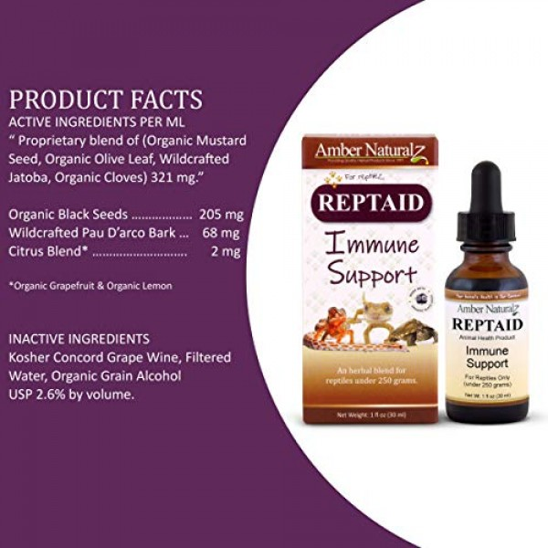 AMBER NATURALZ - REPTAID - Immune Support - for Reptiles Under 25...