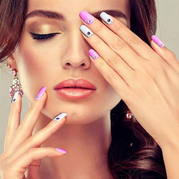 6400pcs Nail Art Rhinestones Nail Crystal Gems Nail Diamonds, Gol...