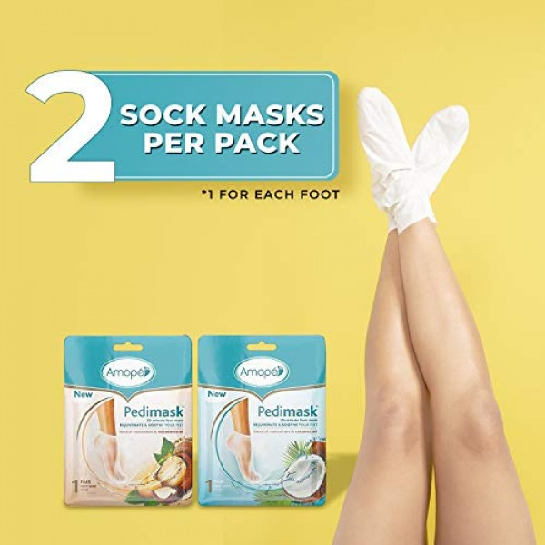 Amope PediMask Kit- 20 Minute Foot Mask to Rejuvenate and Soothe ...