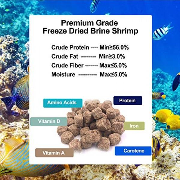 0.7 oz Freeze Dried Brine Shrimp-100% Natural Fish Food, High Pro...