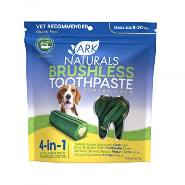 Ark Naturals Brushless Toothpaste, Dog Dental Chews for Small Bre...