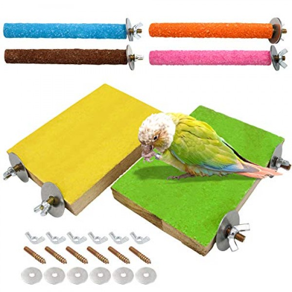 6 Pcs Bird Perch Stand Toy, Wood Parrot Stand Platform Colorful S...