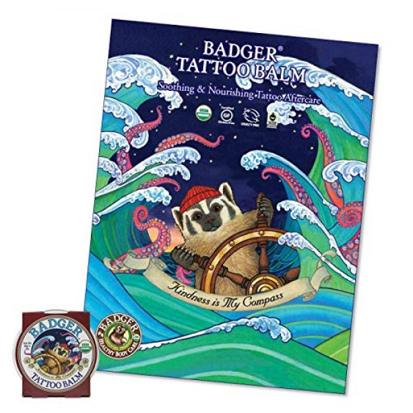 Badger - Tattoo Balm, Coconut and Tamanu Oil Tattoo Care, Natural...