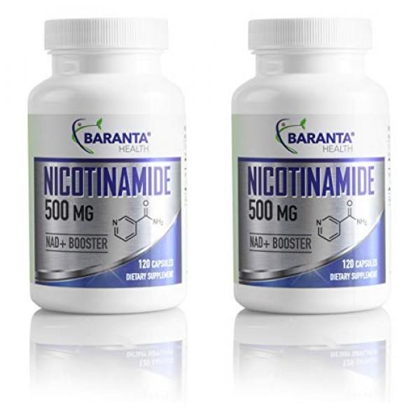 Baranta Health Nicotinamide 500mg 120 Capsules 2-Pack Supplement:...