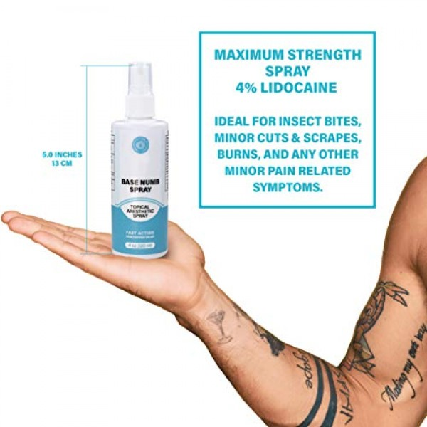 Base Labs Lidocaine Numbing Spray for Tattoos - 4 FL oz - Soothin...