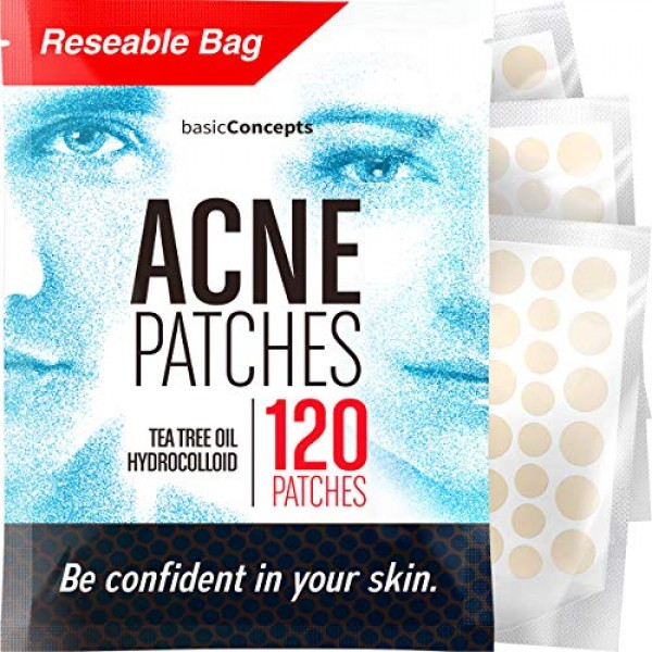 Acne Patches 120 Pack, Tea Tree Oil and Hydrocolloid Pimple Pat...