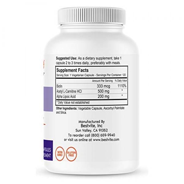 Acetyl L-Carnitine 500mg & Alpha Lipoic Acid 200mg per Capsule wi...