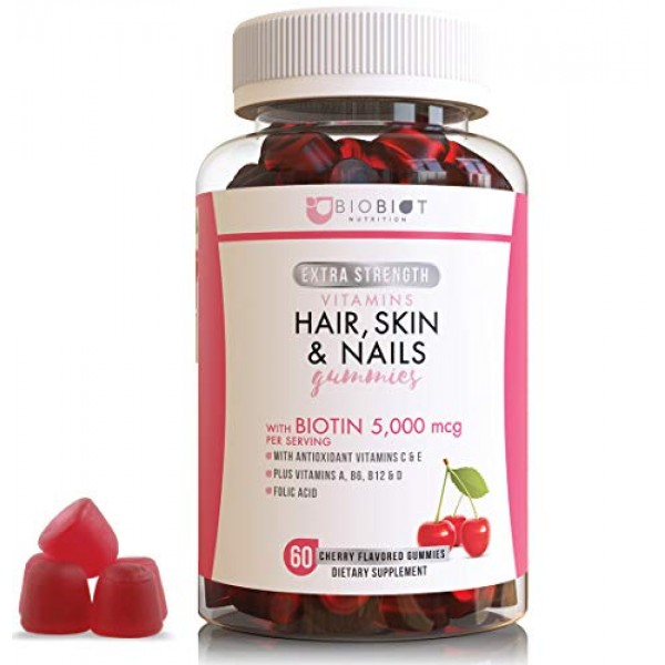 Extra Strength Formula Hair, Skin and Nail - 60 Flavored Gummies ...