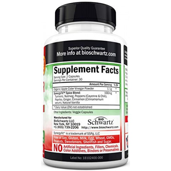 Organic Apple Cider Vinegar Capsules- Natural Weight Loss