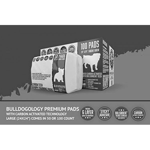 Bulldoglogy Carbon Black Puppy Pee Pads with Adhesive Sticky Tape...