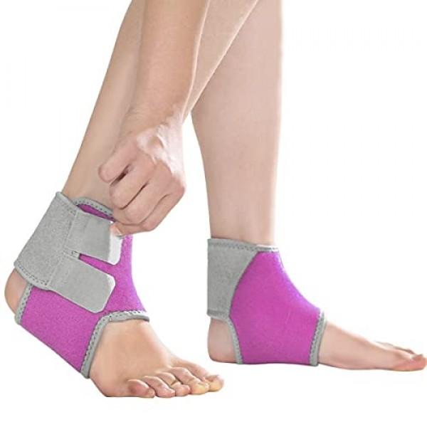 2 Pack Kids Child Adjustable Nonslip Ankle Tendon Compression Bra...