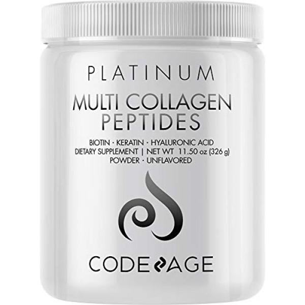 Multi Collagen Protein Powder with Biotin, Vitamin C, Keratin, Hy...