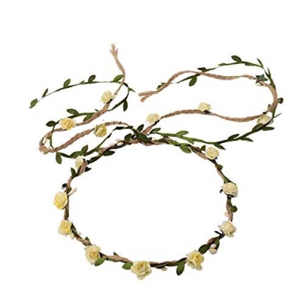 Ddazzling Flower Crown Floral Wreath Headband Floral, Ivory, Size...
