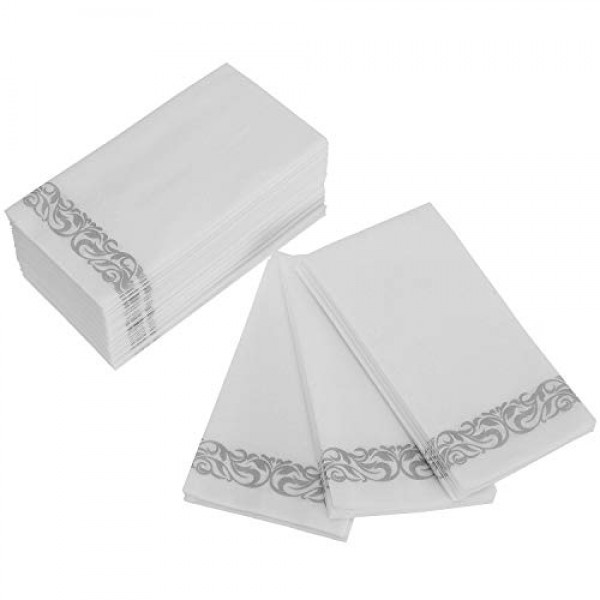 Foraineam 100-Pack Linen-Feel Disposable Hand Towels Decorative P...