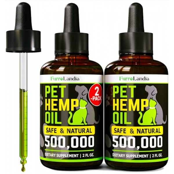 2 Pack Hemp Oil for Dogs and Cats - Dog Calming Aid for Stress ...