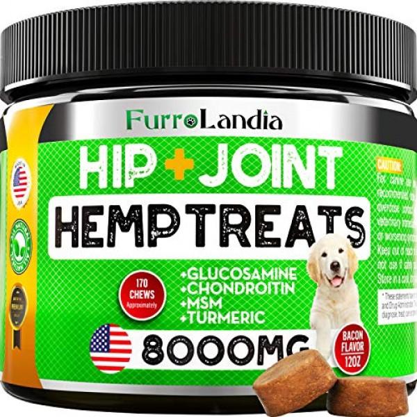 FurroLandia Hemp Hip & Joint Supplement for Dogs - 170 Soft Chews...