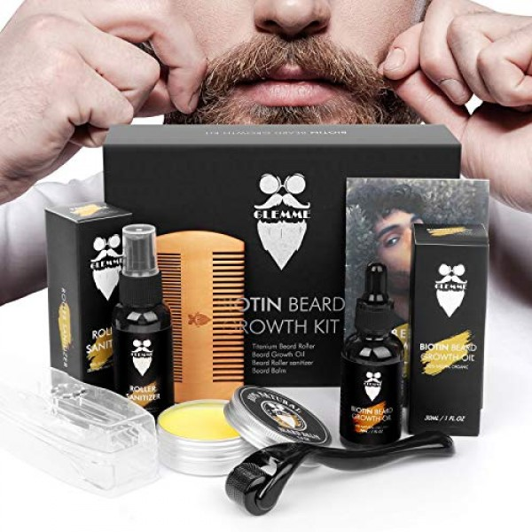 Beard Growth Kit Derma Roller with Biotin Beard Growth Oil Serum,...