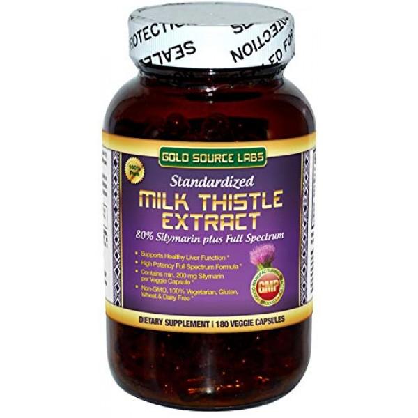 Organic Milk Thistle Capsules, 180 Caps, Pure Milk Thistle Powder...