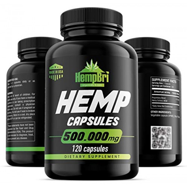 Hemp Oil Extract Capsules For Pain Relief & Anxiety Best Joint Su...