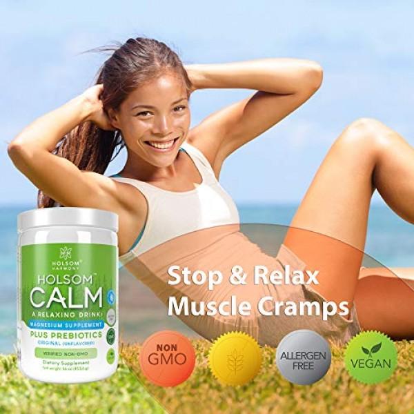 Calm Magnesium Powder, Anti Stress Supplement with Prebiotics UN...
