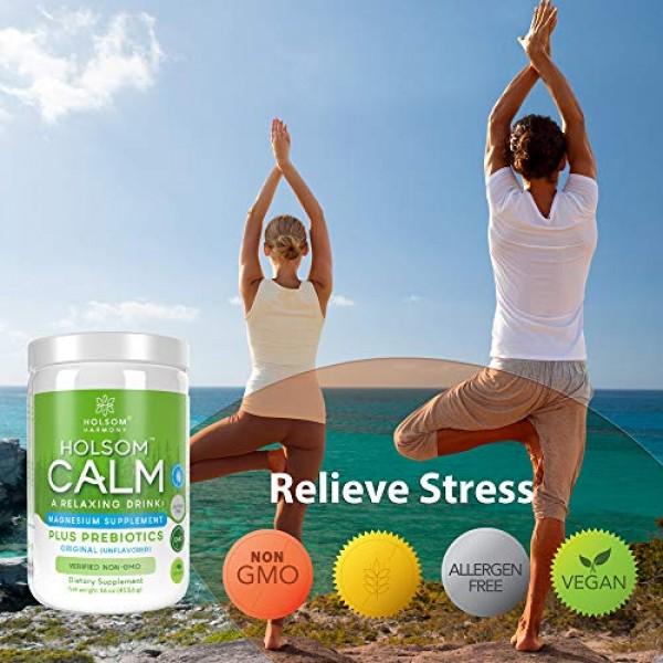 Calm Magnesium Powder, Anti Stress Supplement with Prebiotics Le...