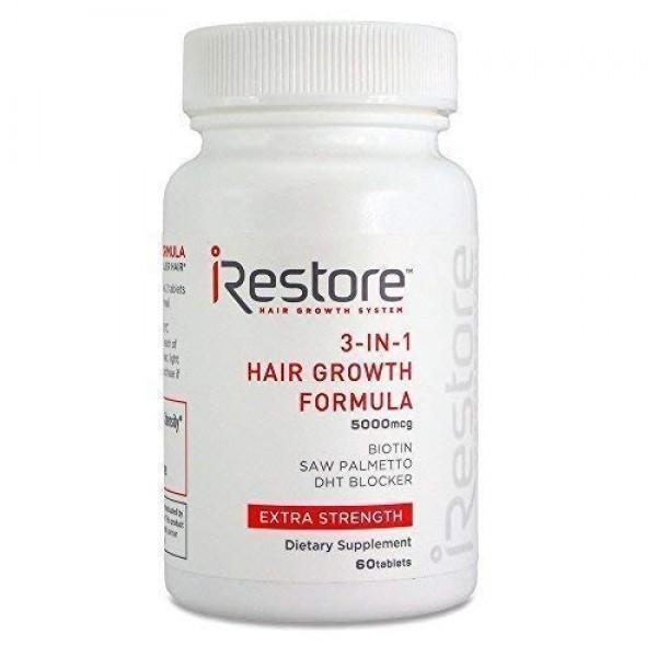 iRestore 3-in-1 Hair Growth Supplement with Biotin, DHT Blocker, ...