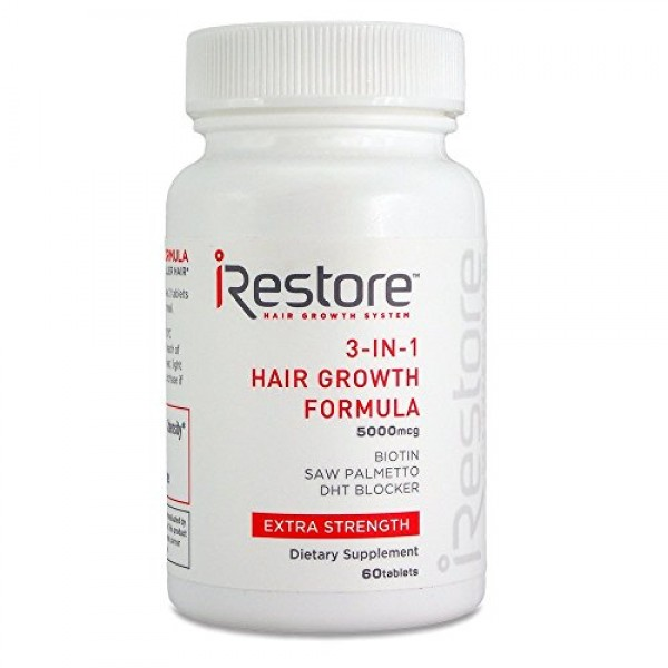 iRestore 3-in-1 Hair Growth Supplement with Biotin, Saw Palmetto,...