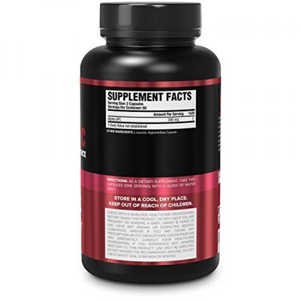 Alpha GPC Choline Supplement 300mg - Premium Stimulant-Free Nootr...