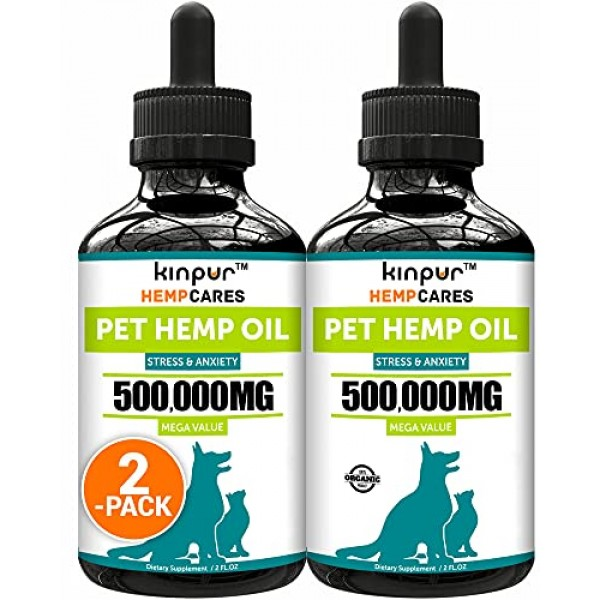 2 Pack Hemp Oil for Dogs and Cats - Natural Calming Support - H...