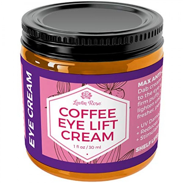 Coffee Eye Lift Cream by Leven Rose 100% Natural, Reduces Puffine...