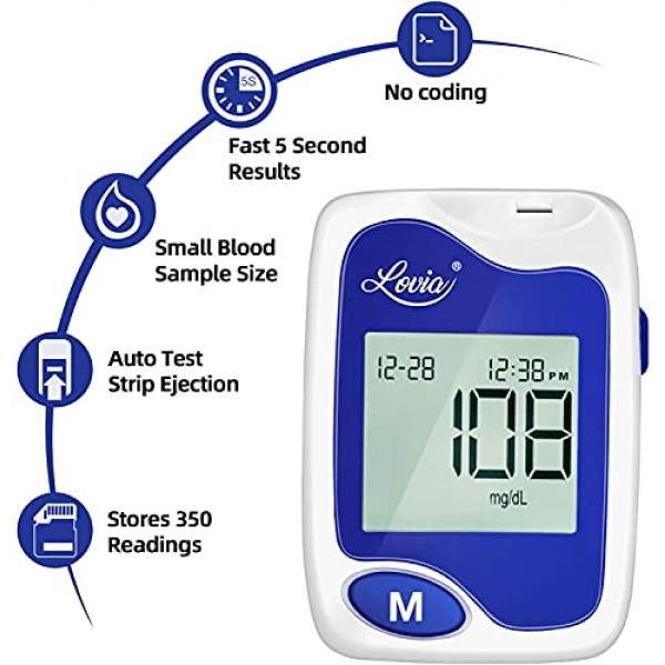 Blood Glucose Monitor Kit - Lovia Diabetes Testing Kit with Blood...