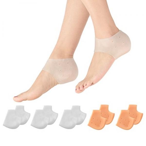 Madholly 5 Pairs Gel Heel Sleeves, Breathable Silicone Heel Socks...