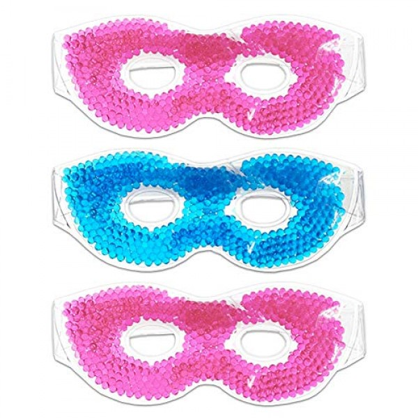 Hot / Cold Therapeutic Bead Pearl Gel Eye Masks Pack of 3