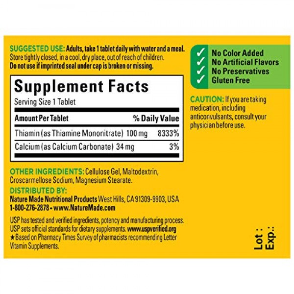 Nature Made Vitamin B1 100 mg Tablets, 100 Count for Metabolic He...