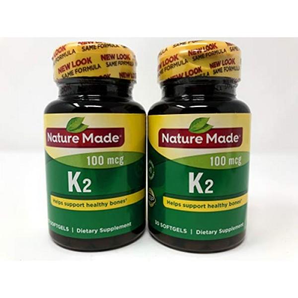 Nature Made Vitamin K2 Softgel, 100 mcg - 2 bottles each of 30 So...