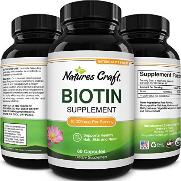 10000 mcg Pure Biotin Pills for Women Men - Stop Hair Loss Thinni...