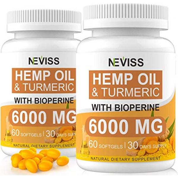 2-Pack Hemp Oil Capsule Softgels with Turmeric & Bioperine - 12...