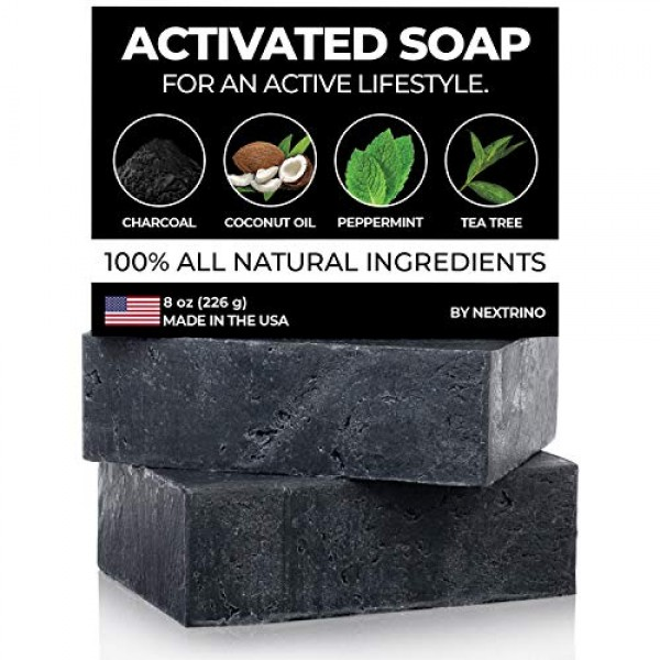 Activated Charcoal Tea Tree Soap - with Peppermint! Made in the U...