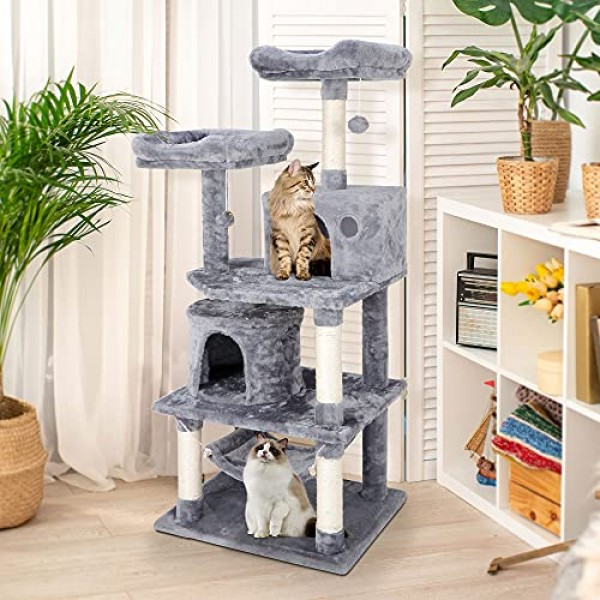 57.1 Inches Multi-Level Cat Tree Tower with Scratching Posts Perc...
