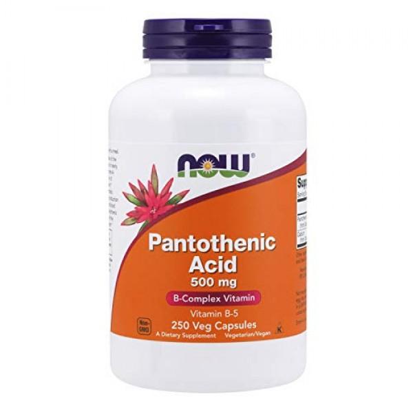 NOW Supplements, Pantothenic Acid Vitamin B-5 500 mg, B-Complex...