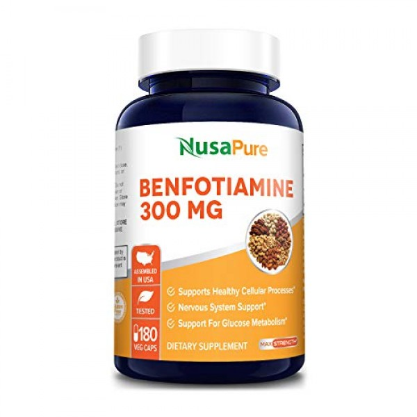 Benfotiamine 300mg 180 Veggie Caps Non-GMO,Vegan & Gluten-Free...