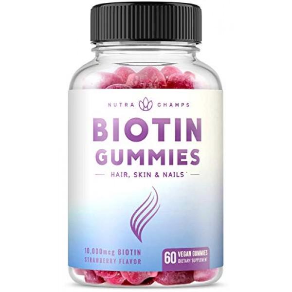 Biotin Gummies 10,000mcg [Highest Potency] for Healthy Hair, Skin...
