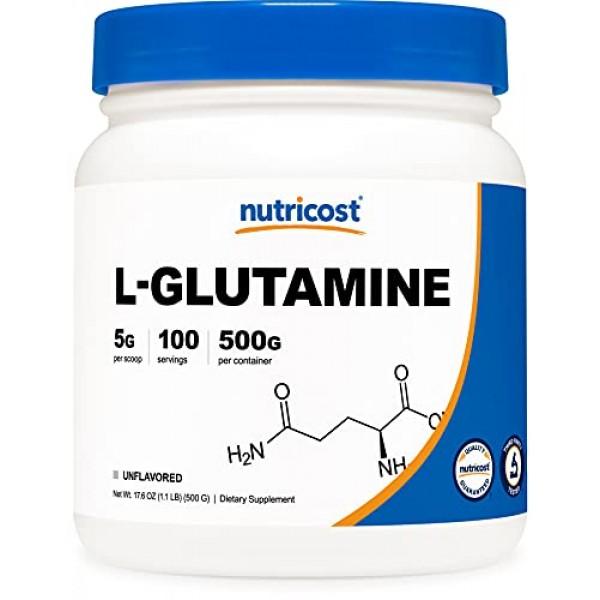 Nutricost L-Glutamine Powder 500 Grams Unflavored - Gluten Free...