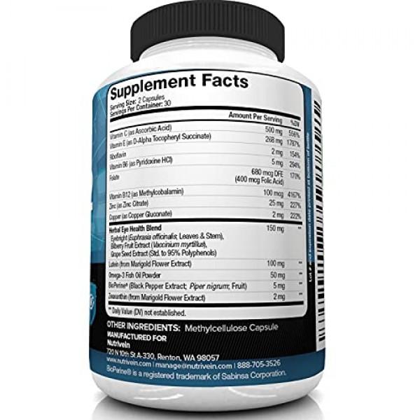 Nutrivein AREDS 2 Eye Vitamins - Supports Eye Strain, Dry Eyes - ...