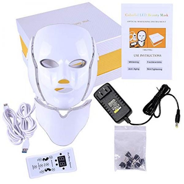 Ofanyia 7 Colors LED Face Mask for Facial and Neck Skin Rejuvenat...