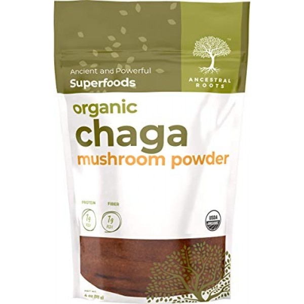 Ancestral Roots Organic Chaga Mushroom Powder - 100% Pure, USDA C...